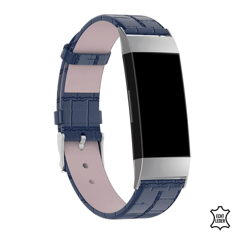 Fitbit charge 4 bandje leer blauw korkodillen patroon - Onlinebandjes.nl