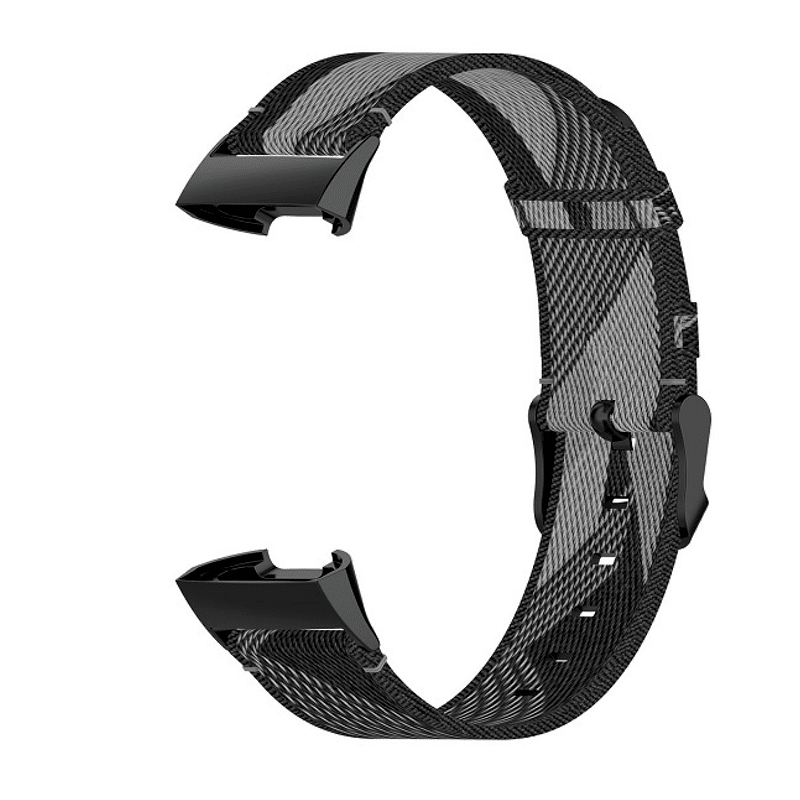 Fitbit charge 4 canvas zwart grijs - Onlinebandjes.nl
