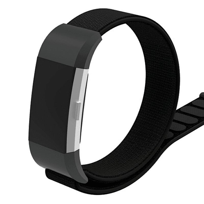 Fitbit charge2 bandje nylon zwart - Onlinebandjes.nl