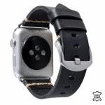 Apple Watch bandje leer grijs-zwart – Onlinebandjes.nl