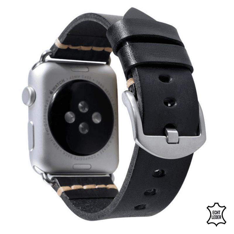 Apple Watch bandje leer grijs-zwart - Onlinebandjes.nl