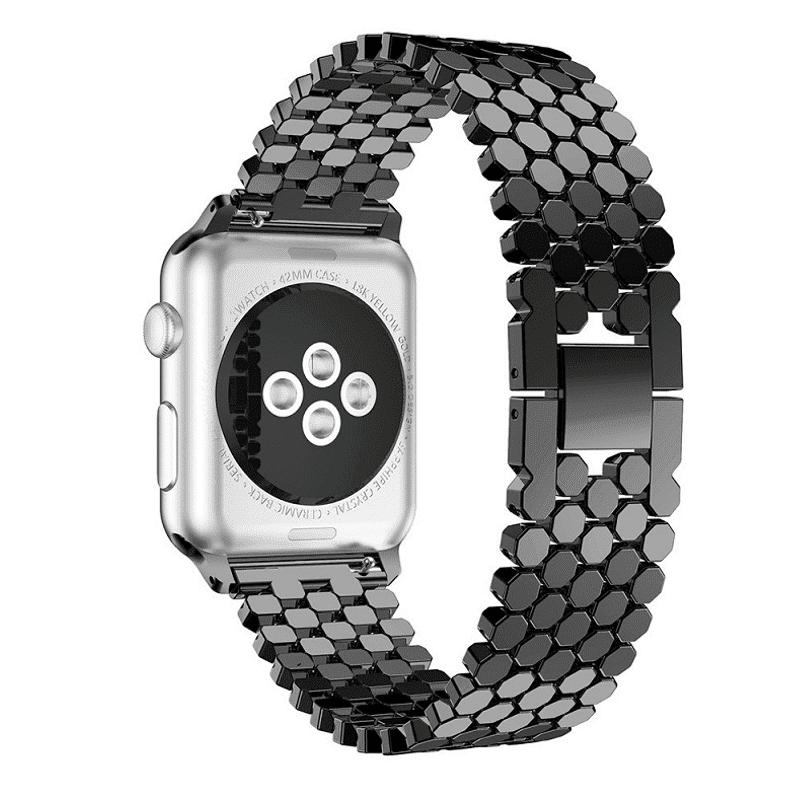 Apple Watch bandje rvs fish scale zwart - Onlinebandjes.nl