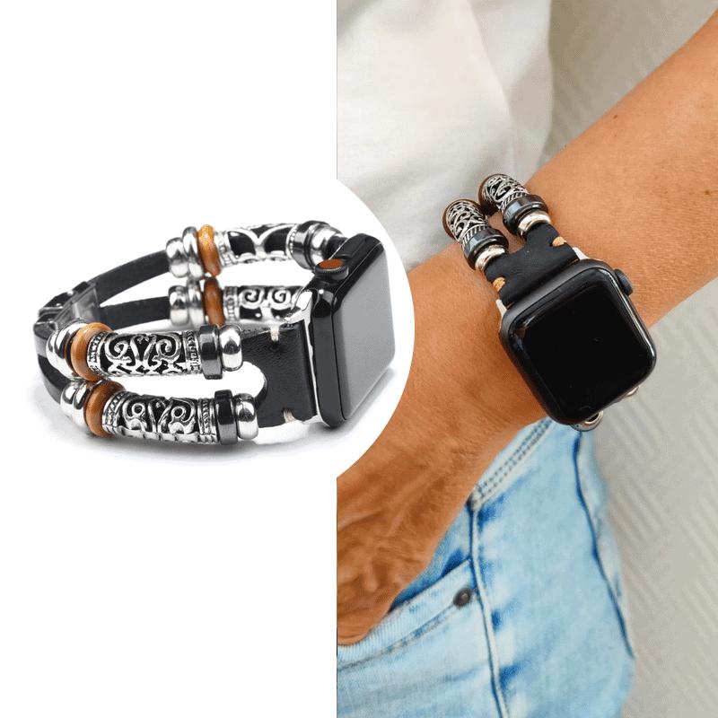 Apple watch bandje 38mm leer zwart - Onlinebandjes.nl