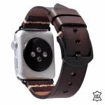 Apple watch bandje leer donkerbruin – Onlinebandjes.nl