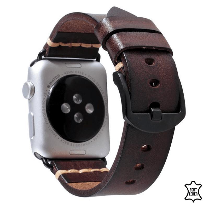 Apple watch bandje leer donkerbruin - Onlinebandjes.nl