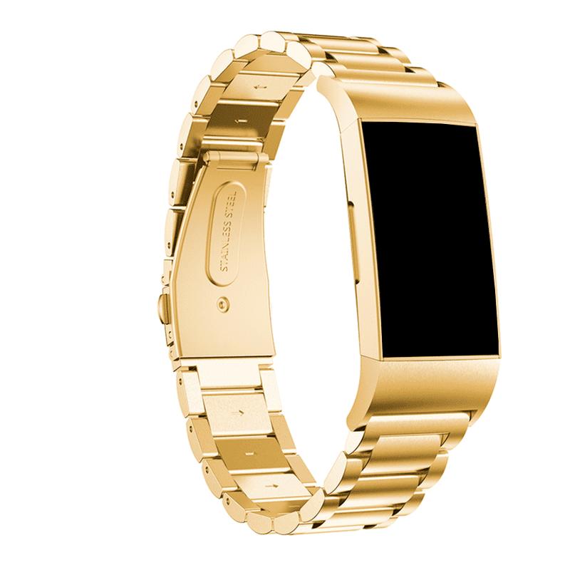 Fitbit charge 4 bandje rvs goud - Onlinebandjes.nl