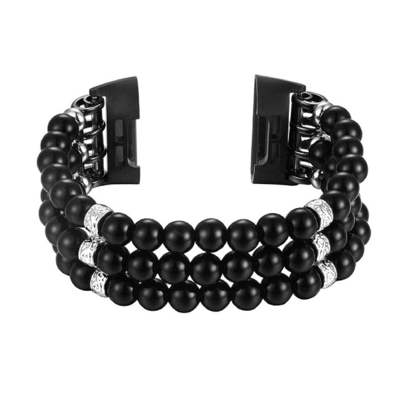 Fitbit Charge 4 bandje elastisch zwart zilver - Onlinebandjes.nl