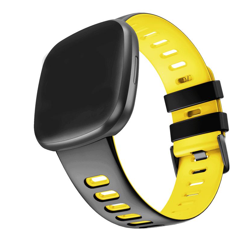 Fitbit Sense bandje sport zwart geel - Onlinebandjes.nl