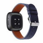 Fitbit Versa 3 bandje donkerblauw leer – Onlinebandjes.nl