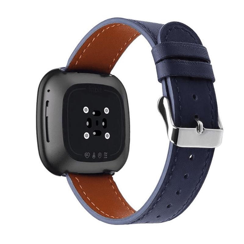 Fitbit Versa 3 bandje donkerblauw leer - Onlinebandjes.nl
