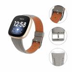 Fitbit Versa 3 bandje grijs leer – Onlinebandjes.nl