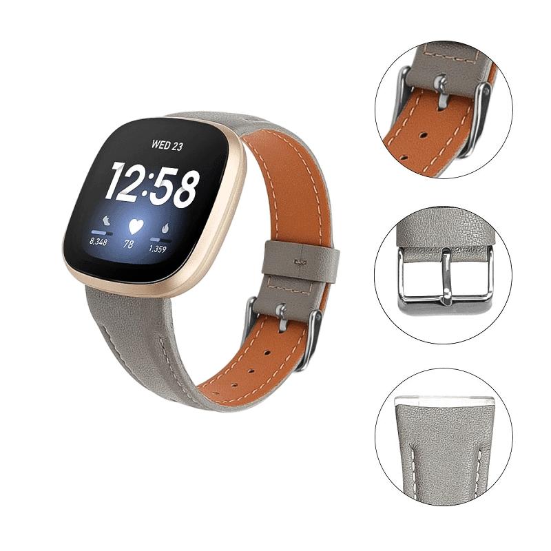 Fitbit Versa 3 bandje grijs leer - Onlinebandjes.nl