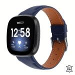 Fitbit Versa 3 bandje leer blauw – Onlinebandjes.nl