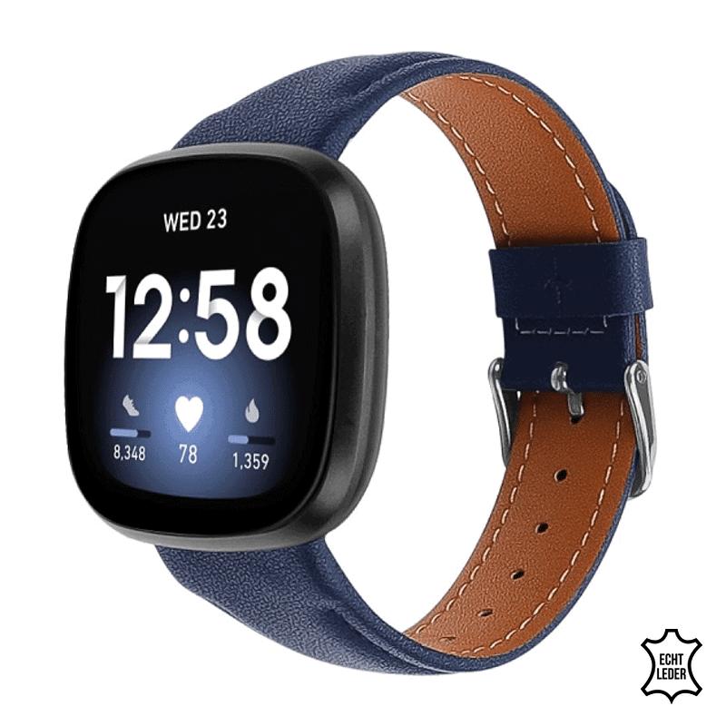 Fitbit Versa 3 bandje leer blauw - Onlinebandjes.nl