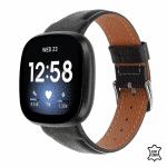 Fitbit Versa 3 bandje leer zwart – Onlinebandjes.nl