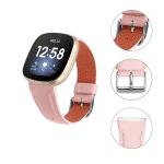 Fitbit Versa 3 bandje roze leer – Onlinebandjes.nl