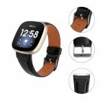 Fitbit Versa 3 bandje zwart leer – Onlinebandjes.nl