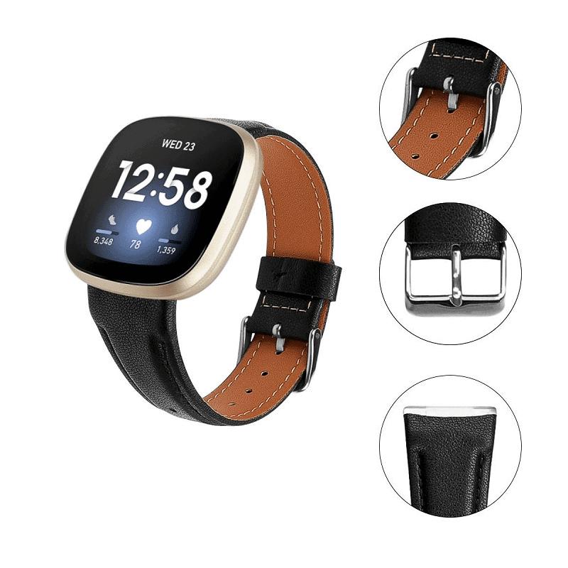 Fitbit Versa 3 bandje zwart leer - Onlinebandjes.nl