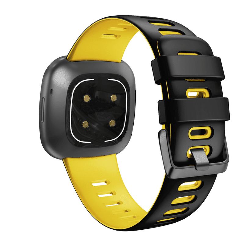 Fitbit Versa 3 sport bandje zwart geel - Onlinebandjes.nl