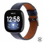 Fitbit Versa bandje leer donkerblauw – Onlinebandjes.nl