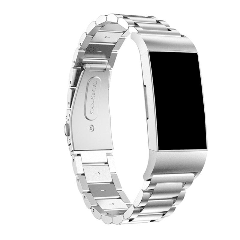 Fitbit charge 4 bandje rvs zilver - Onlinebandjes.nl