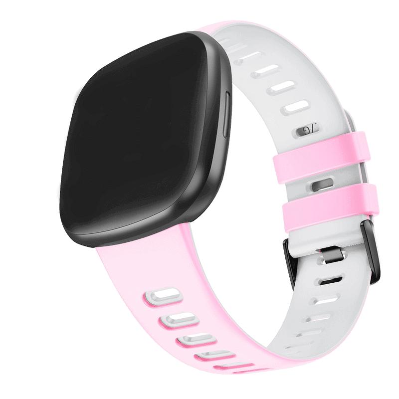 Fitbit sense sport bandje roze wit - Onlinebandjes.nl