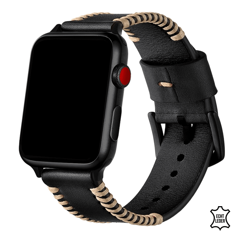 Apple watch bandje leer zwart - Onlinebandjes.nl