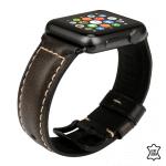 Apple watch 38mm bandje leer oil waxed lichtzwart – Onlinebandjes.nl