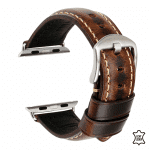 Apple watch bandje leer gewaxt donkerbruin – Onlinebandjes.nl