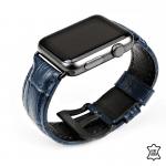 Apple watch leren bandje krokodillen patroon blauw – Onlinebandjes.nl