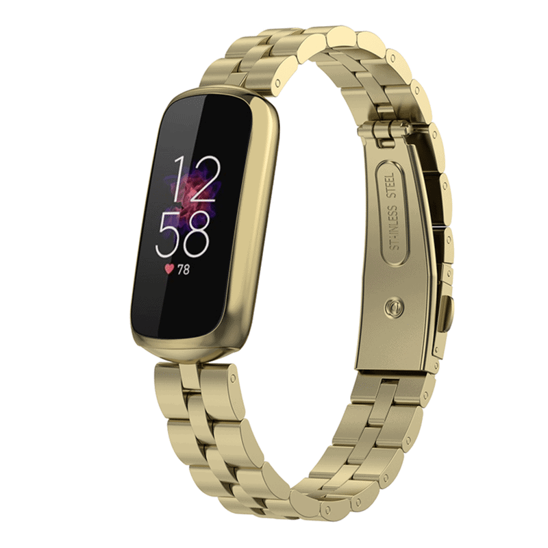 Fitbit luxe rvs bandje official goud - Onlinebandjes.nl