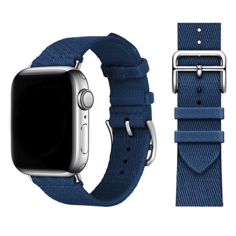 Apple watch bandje Nylon donkerblauw - Onlinebandjes.nl