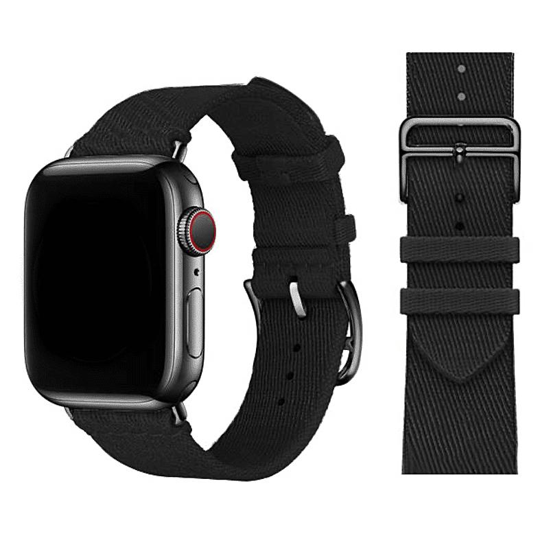 Apple watch bandje Nylon zwart - Onlinebandjes.nl